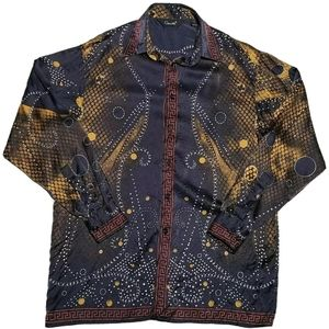 Genelli Men's Silk Shirt Abstract Gaudy